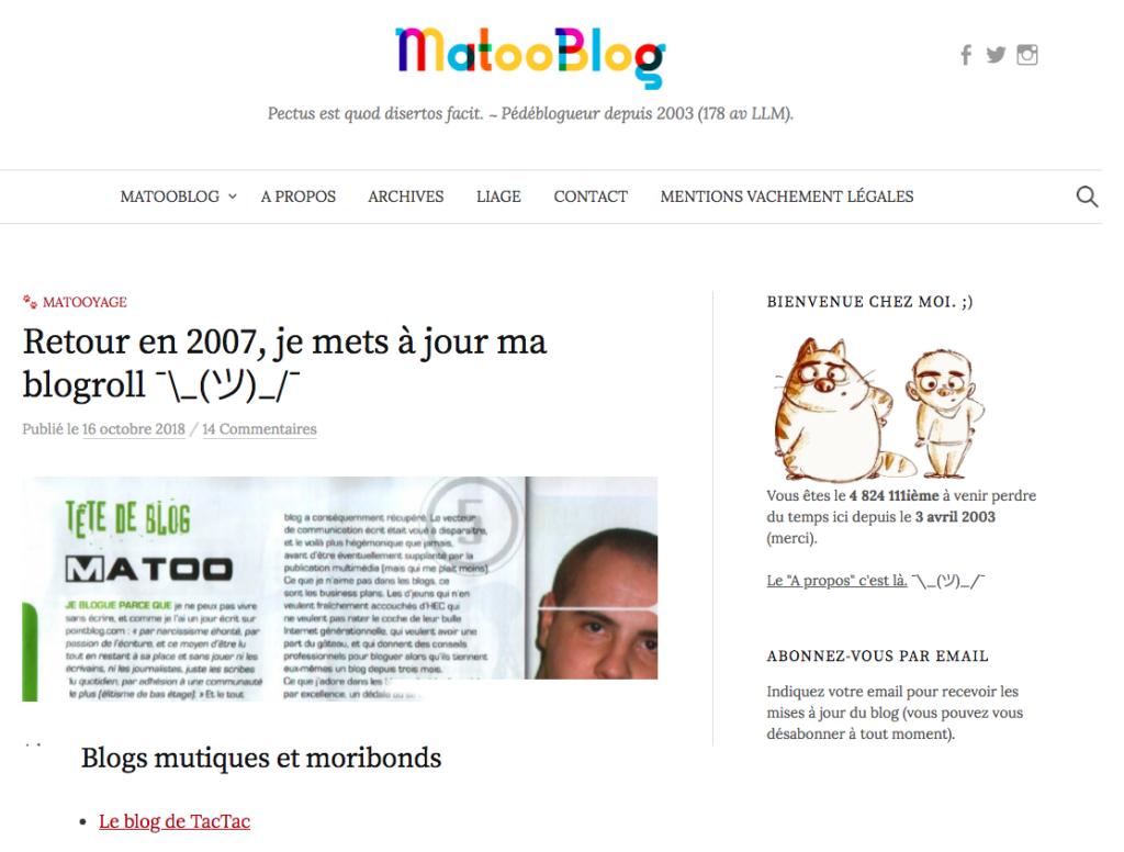 La blogroll de Matoo